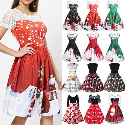 Women Merry Christmas Dress Printed Lace Splicing Party Vintage Santa Dress Hot - Santa Dress Women
