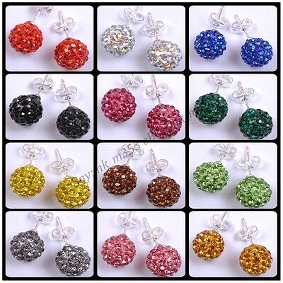New Fashion Shining Crystal Disco Ball Beads Studs Earrings 10MM Pick Colors (Colored Disco Ball)
