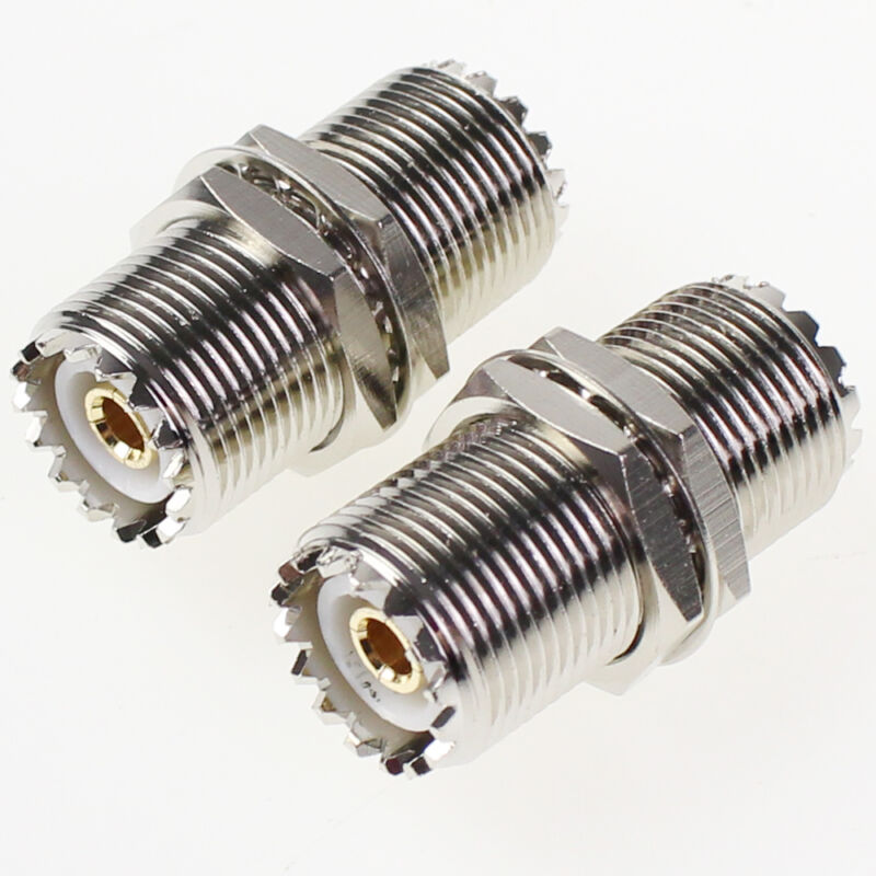 2Pc UHF Female Nut Bulkhead To SO-239 SO239 Jack RF Adapter Connector PL-259 New