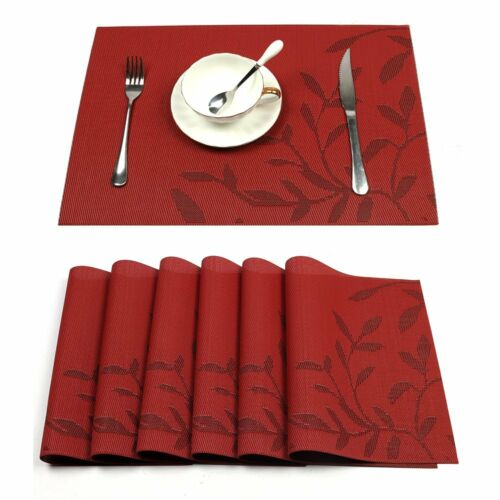 Red Placemats Heat-Resistant PVC Placemat for Dining Table W