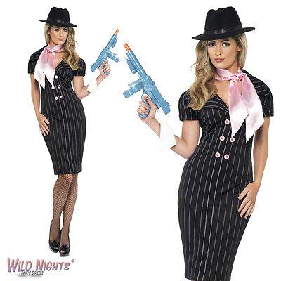 Ladies Mafia Costume (FANCY DRESS COSTUME # LADIES 1920'S GANGSTER'S MOLL MAFIA DRESS SIZE)
