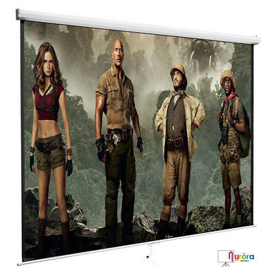 100'' 16:9 Projection White Screen Manual Pull Down Projector Home Movie Matte