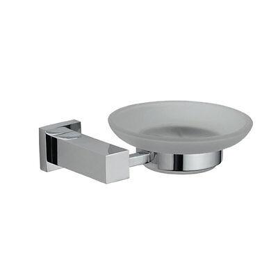 Astril Modern Designer Bathroom Chrome Glass Soap Dish & Holder Wall Mounted