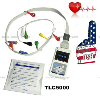 24h Heart Rate Holter Monitor Ecg System 12-lead Pacemaker Arrhythmia Analyzer