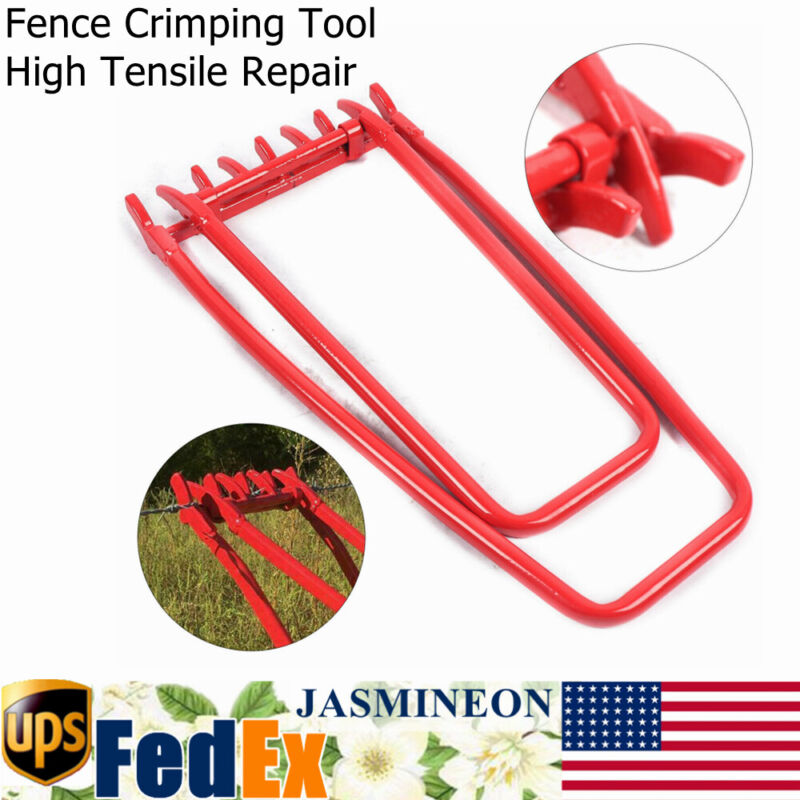 Fence Crimping Tool Ranch Fencing Strainer Wire Tightener High Tensile Repair US