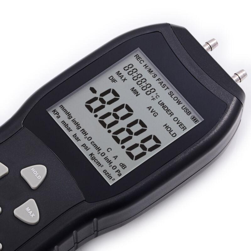 LCD Display Digital Manometer Differential Air Pressure Meter 2 Pipe Black NEW