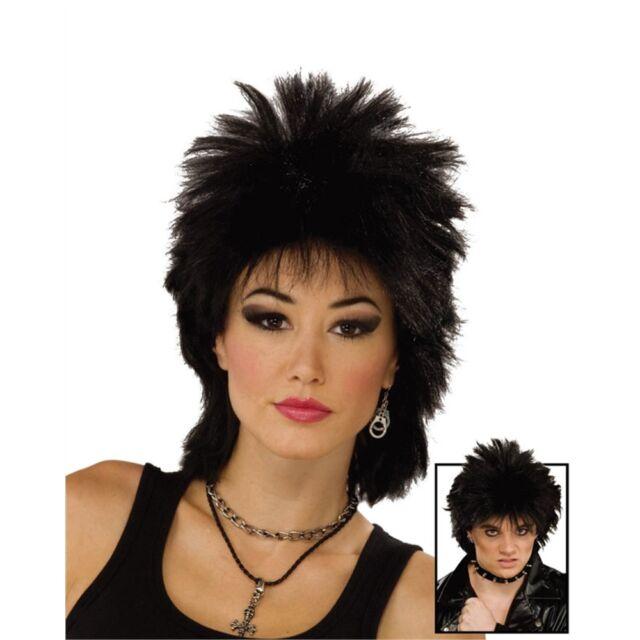 80's Black Punk Rock Star Wig - Womens Mens 80s Rocker Idol Fancy Dress