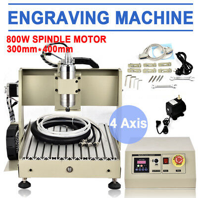 4 Axis 3040 Cnc Router Engraver Engraving Milling Woodworking Machine 800w Vfd