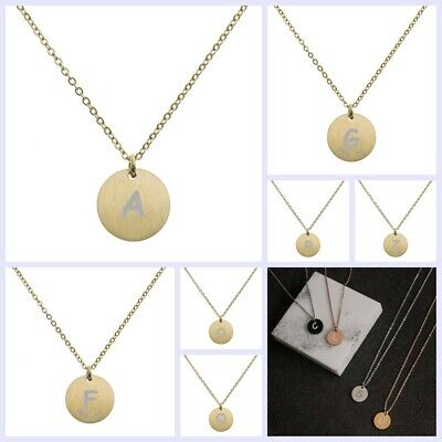 Engraved Gold Tone Metal Initial Letter Disc Pendant Chain Necklace (Gold Initial Disc)