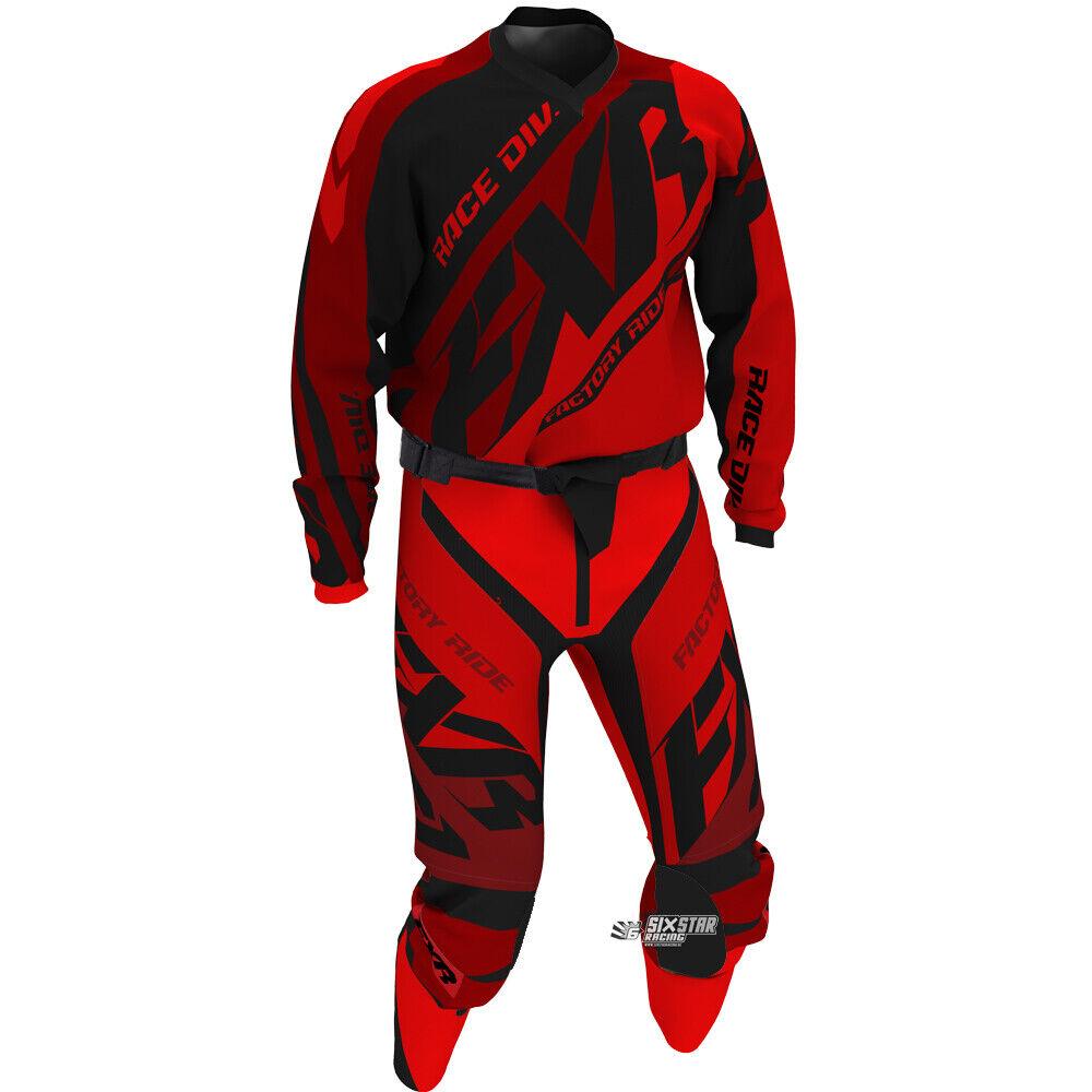 FXR Racing MX Clutch Prime Schwarz Rot Motocross Jersey Hose Combo Kit OUTLET