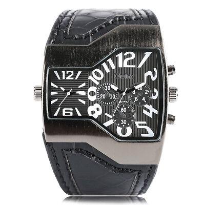 - OULM Dual Time Zone Big Dial Leather Strap Men Army Quartz Wrist Watch Bracelet