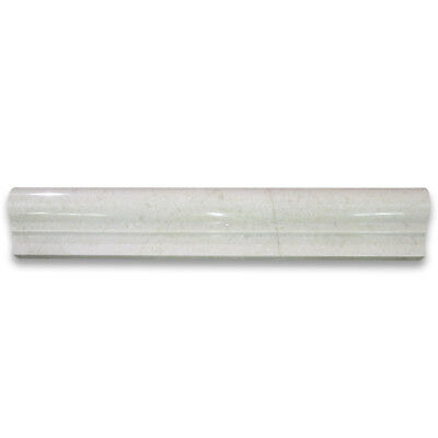 M04P Crema Marfil Marble 2x12 Chair Rail Bullnose Trim Molding Polished  (Crema Marfil Marble Molding)
