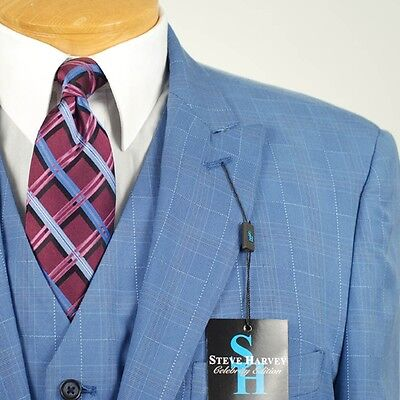 52R Steve Harvey French Blue Checked Suit   52 Regular Mens Suits   Sb06