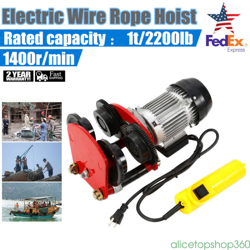 2200lb Electric Overhead Motor Lift Hoist Garage Winch Crane w/ Remote 500W
