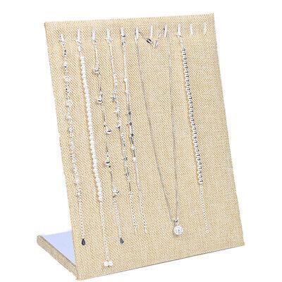 Linen Jewelry Display Pendant Necklace Ramp Holder Stand Organizer Storage Cases