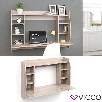 VICCO Wandschreibtisch MAX Sonoma Eiche Schreibtisch Wandregal Bürotisch PC ()