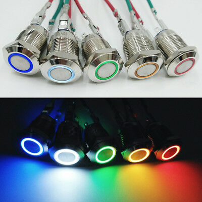 Waterproof Car Panel Led Self-reset Push Button Metal Momentary Switch 1216mm