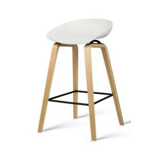 Bar Stool x2 Bentwood Legs Moulded  Seat Modern Decor White or Black Kings Beach Caloundra Area Preview