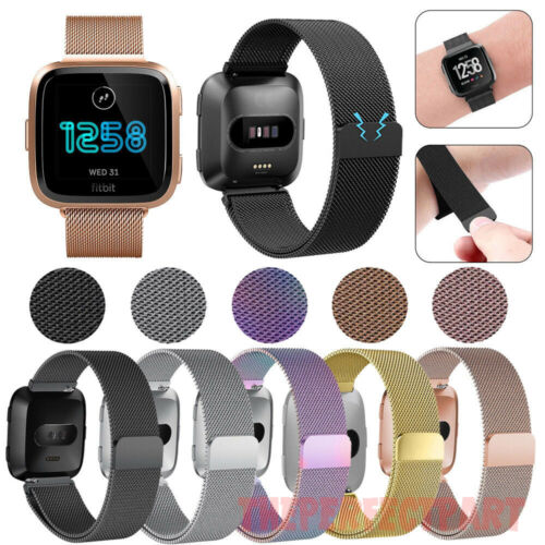 For Fitbit Versa Metal Milanese Magnetic Loop Strap Stainless Steel Wrist Band