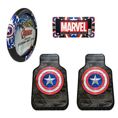 Captain America Car Business Floor Mats Steering Wheel Cover License Plate Arrangement