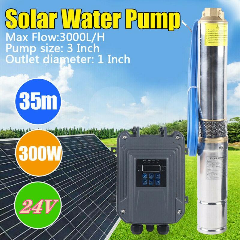 24V Solar Power Water Pump Farm Ranch DC Submersible Bore Hole Deep Well 300W US