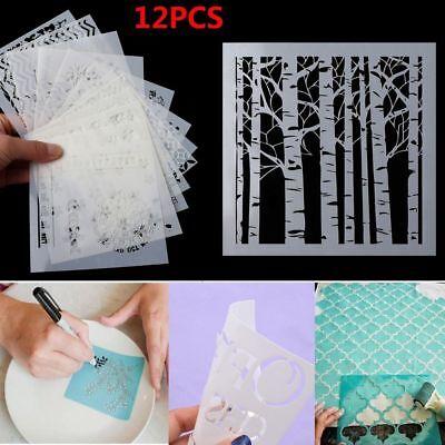 12pcs/set Walls Painting Layering Stencils Scrapbooking Embossing Template