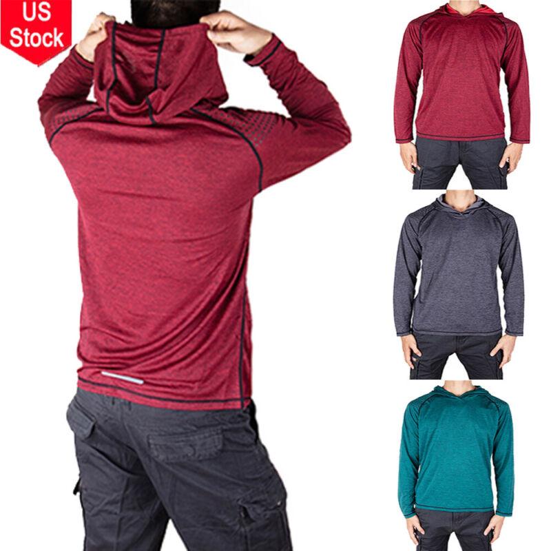 Mens Gym Long Sleeve Shirts Hooded Muscle Tops Hoodie Casual