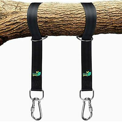 Best Tree Swing Hanging Kit - Easy 30 Sec Install On Outdoor Toys Two 5 Ft Hold (Toy Hammock Black)