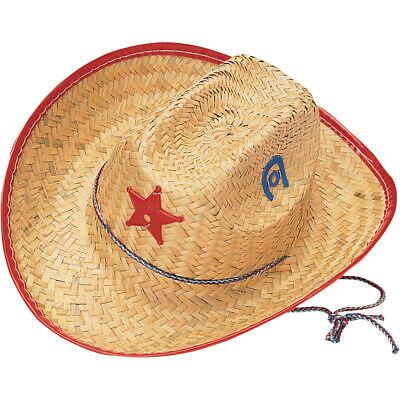 Kinder Stroh Cowboy Sheriff Hut Kostüm Zubehör