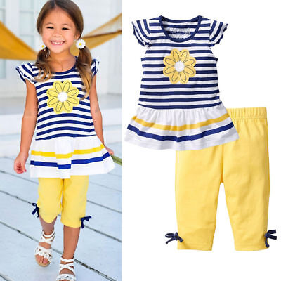 USA Kids Toddler Baby Girl Outfit Clothes Frill T Shirt Flowers Tops+Short Pants