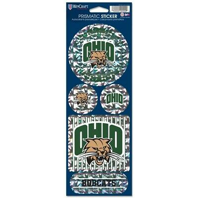 """OHIO BOBCATS OFFICIAL 10.5"""" X 4"""" PRISMATIC DECAL SET NEW WINCRAFT"""