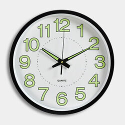 Wall Round Dial Clock Classic Luminous Night Vision Decor Station Class Room