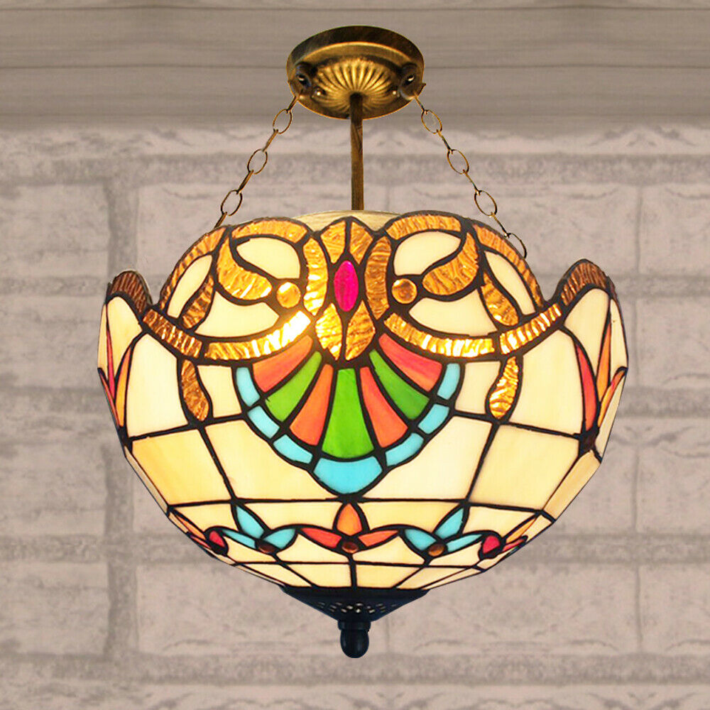 Details About Tiffany Style Pendant Light Ceiling Lamp Stained Glass Shade Bedroom Fixture Hot