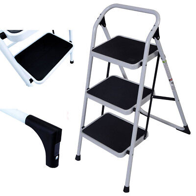 Protable 3 Step Ladder Folding Stepladder Non Slip Heavy Duty Kitchen Safety New