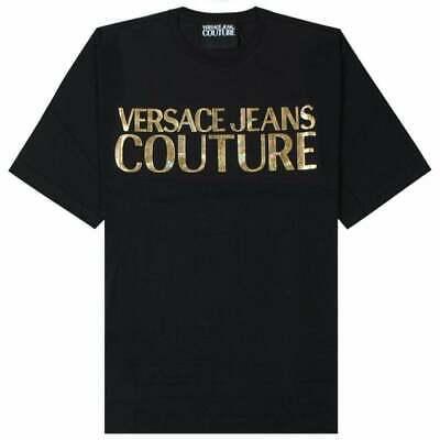 Versace Jeans Couture Gold Logo Print 100% Black Cotton Mens T-Shirt M L XL 3XL