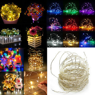 (LED String Copper Wire Fairy Lights Battery USB 12V Xmas Party Fairy Decor Lamp)