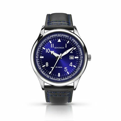 Mens Sekonda Analogue Display Metallic Blue Dial Date Leather Strap Watch 1462