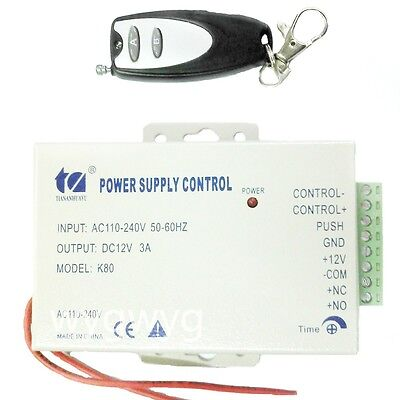 AC 110V - 240V to DC 12V 3A Power Supply + Remote control ON/OFF Access control