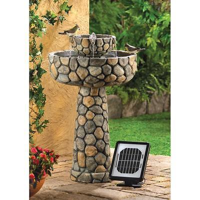 SOLAR castle courtyard faux stone thones bird bath Outdoor Garden patio Fountain