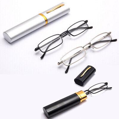 Women Men Compact Reading Glasses Readers Travel Slim with Tube Case Metal Frame