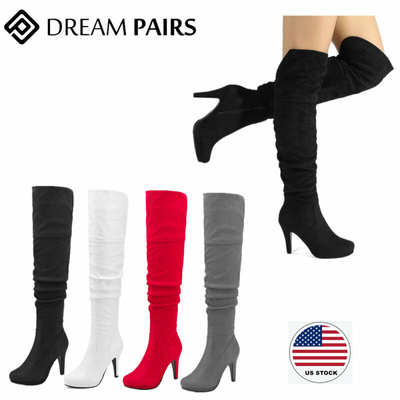 DREAM PAIRS Womens Ladies Thigh High Over The Knee Boots Stretch High Heel Boots