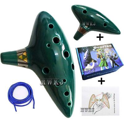 Green 12 Hole Ocarina of Time Zelda Ceramic Alto C Flute Musical Instrument Gift