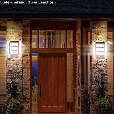 2 x  LED Wand Außen Leuchte Edelstahl mit Bewegungsmelder Sensor Haus Tür Lampe