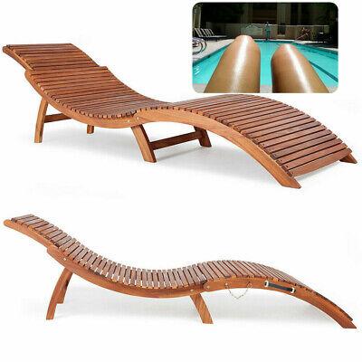 Acacia Wooden Large Foldable Sun Lounger Bench Chiar Garden Swiming pool tanning