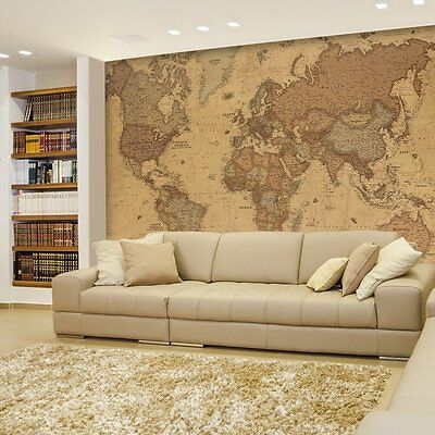 Wall26® - Antique Monochrome Vintage Political World Map - Wall Mural- -