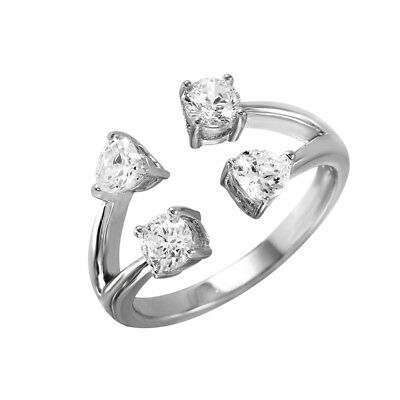 Open Round Ring (Sterling Silver Ladies Four Ends Open Ring w/ Heart & Round Cut CZ Stones )