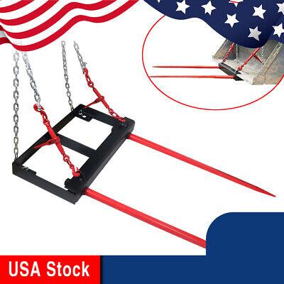 Universal Loader Bucket Mount Hay Bale Spear Spike Stabilizer Handling Spears