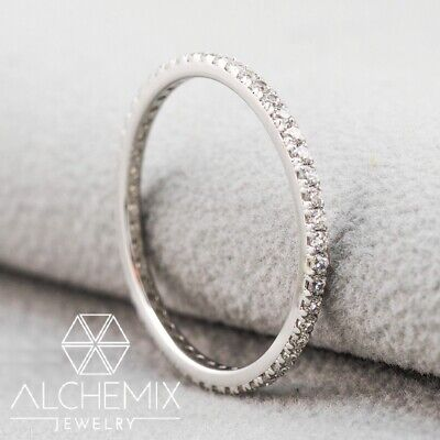 9ct White Gold Created Diamond Engagement Wedding Solitaire Eternity Stack Ring