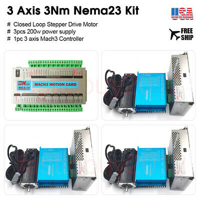 3axis Mach3 Nema23 Closed Loop Stepper Motor 3nm Driver Kit Motion Controller