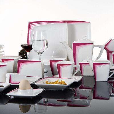 40X Porcelain China Dinnerware Square Ceramic Dinner Service Sets Plates Purple